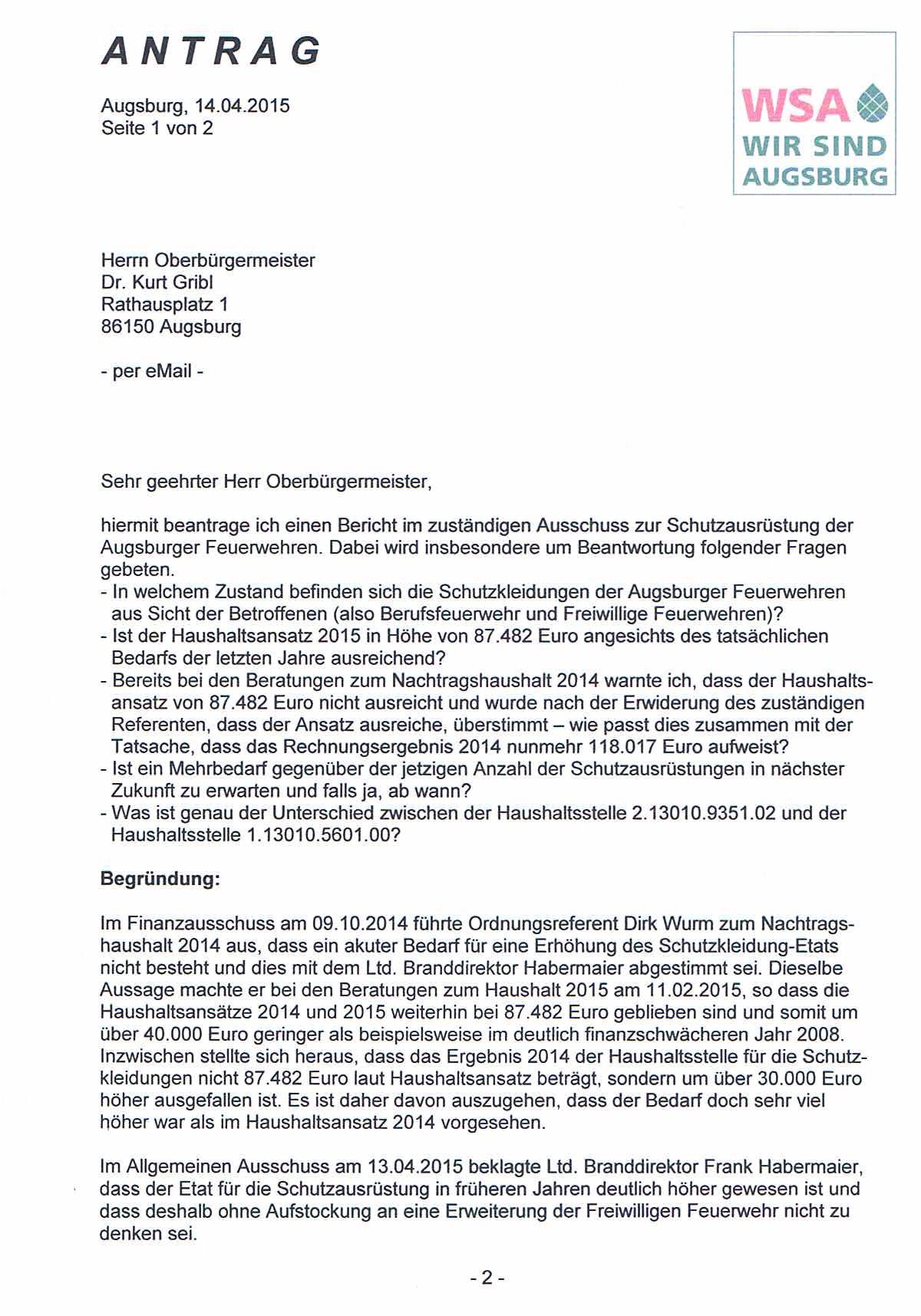 WSA-Antrag vom 14.04.2015 zur Schutzausrüstung der Augsburger Feuerwehren, Seite 1