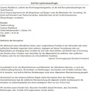 11 Eisenach - HP Antikorruptionsbeauftragte - Auszug