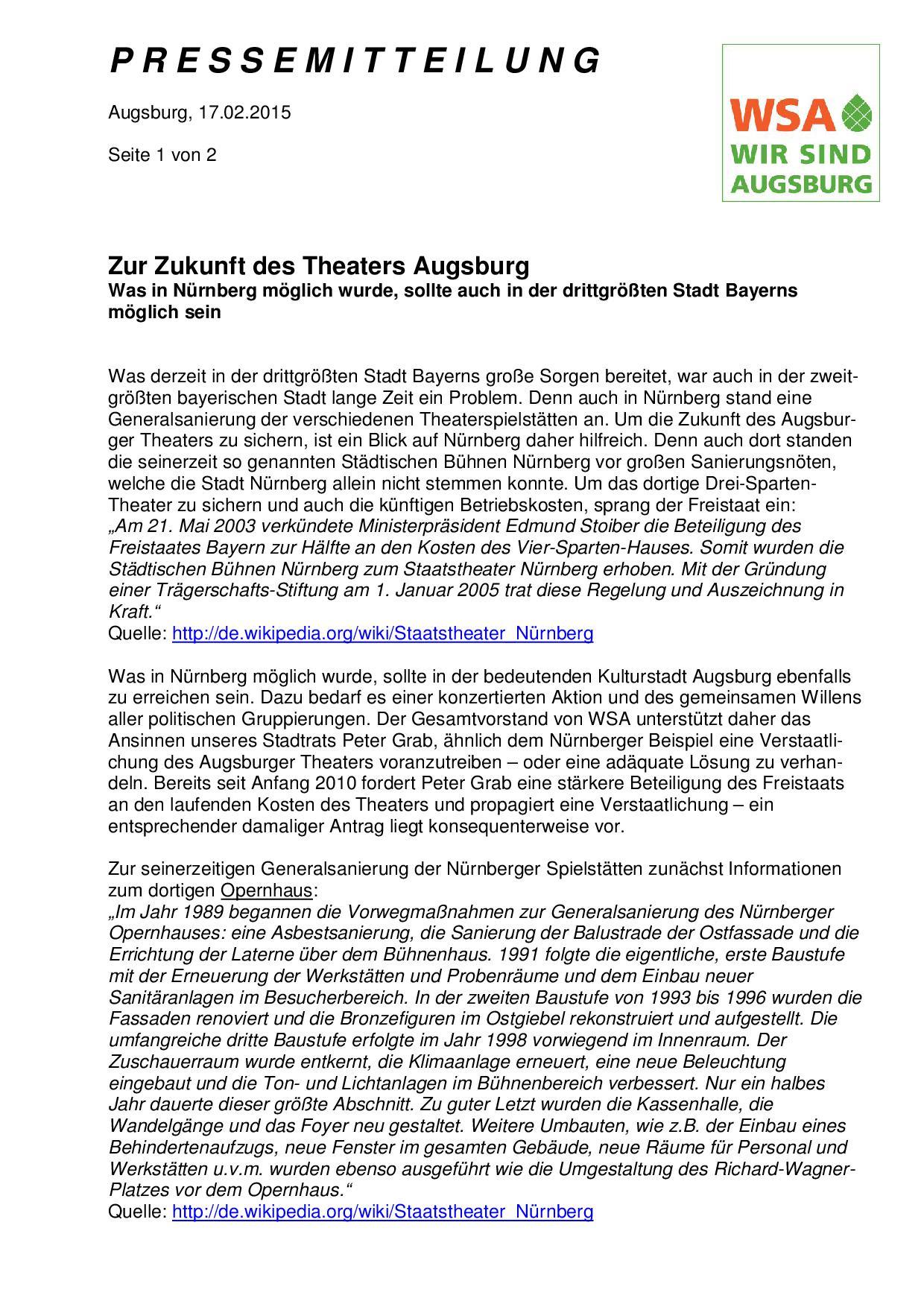 Pressemitteilung 17.2.2015 zur Generalsanierung Theater Augsburg - Seite 1