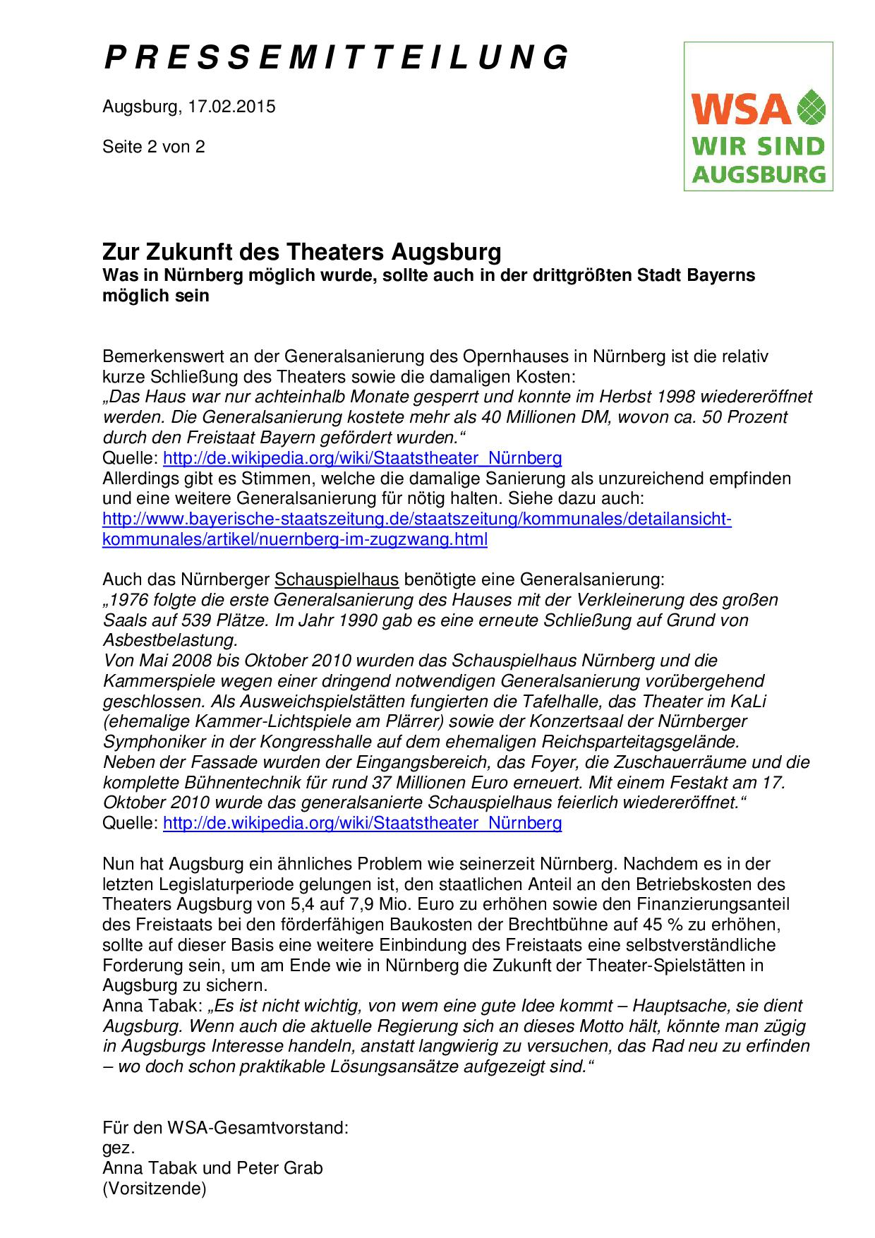 Pressemitteilung 17.2.2015 zur Generalsanierung Theater Augsburg - Seite 2