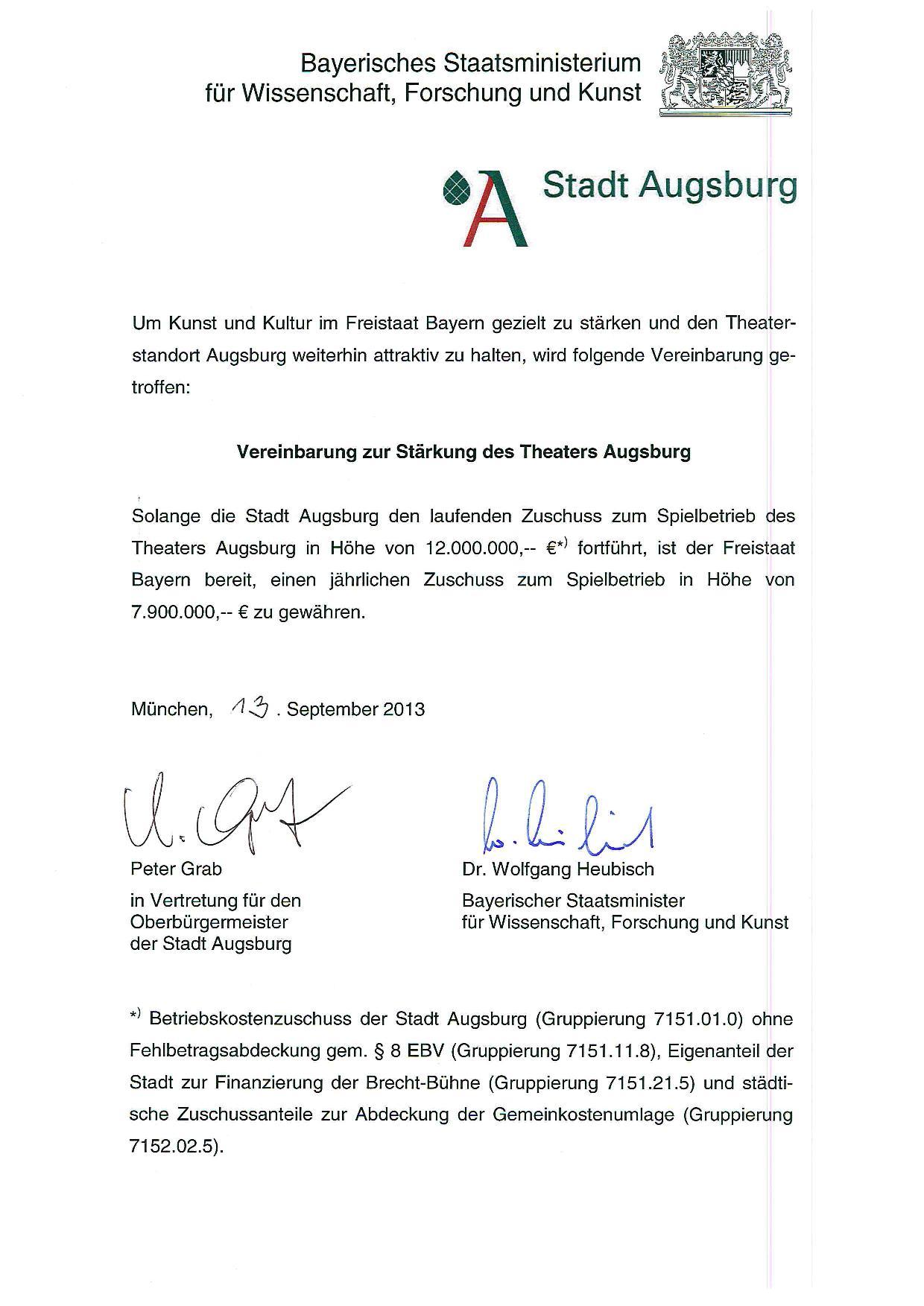 Vereinbarung zur Stärkung des Theaters Augsburg