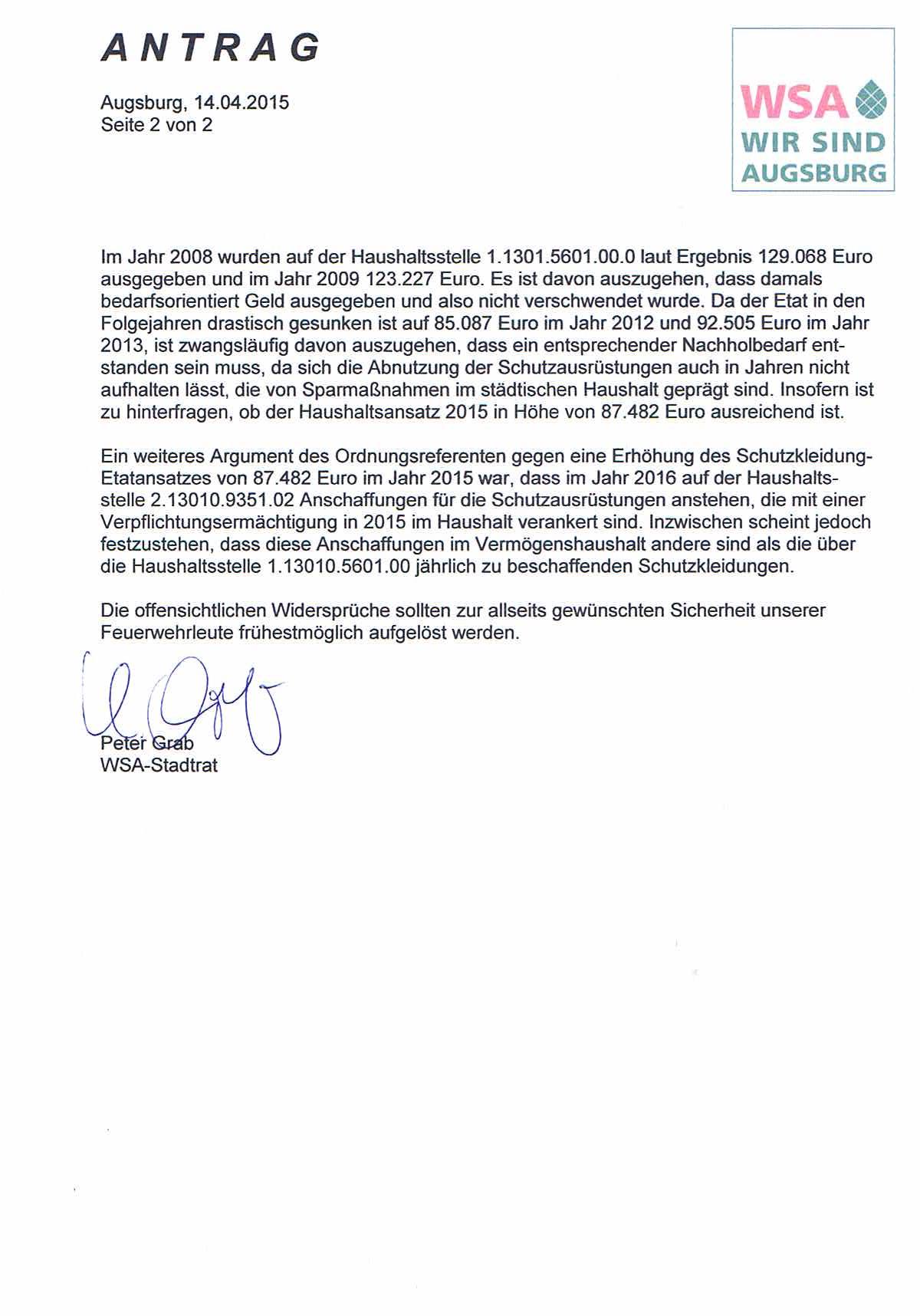WSA-Antrag vom 14.04.2015 zur Schutzausrüstung der Augsburger Feuerwehren, Seite 2