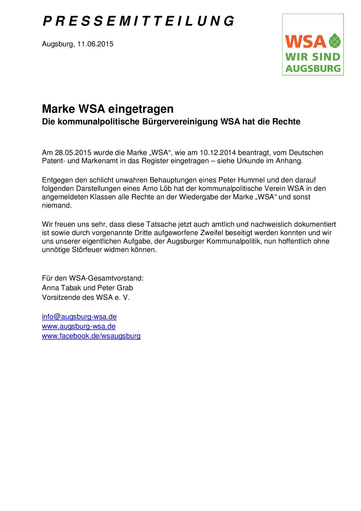 WSA-Pressemitteilung vom 11.06.2015 zur WSA-Marke-001