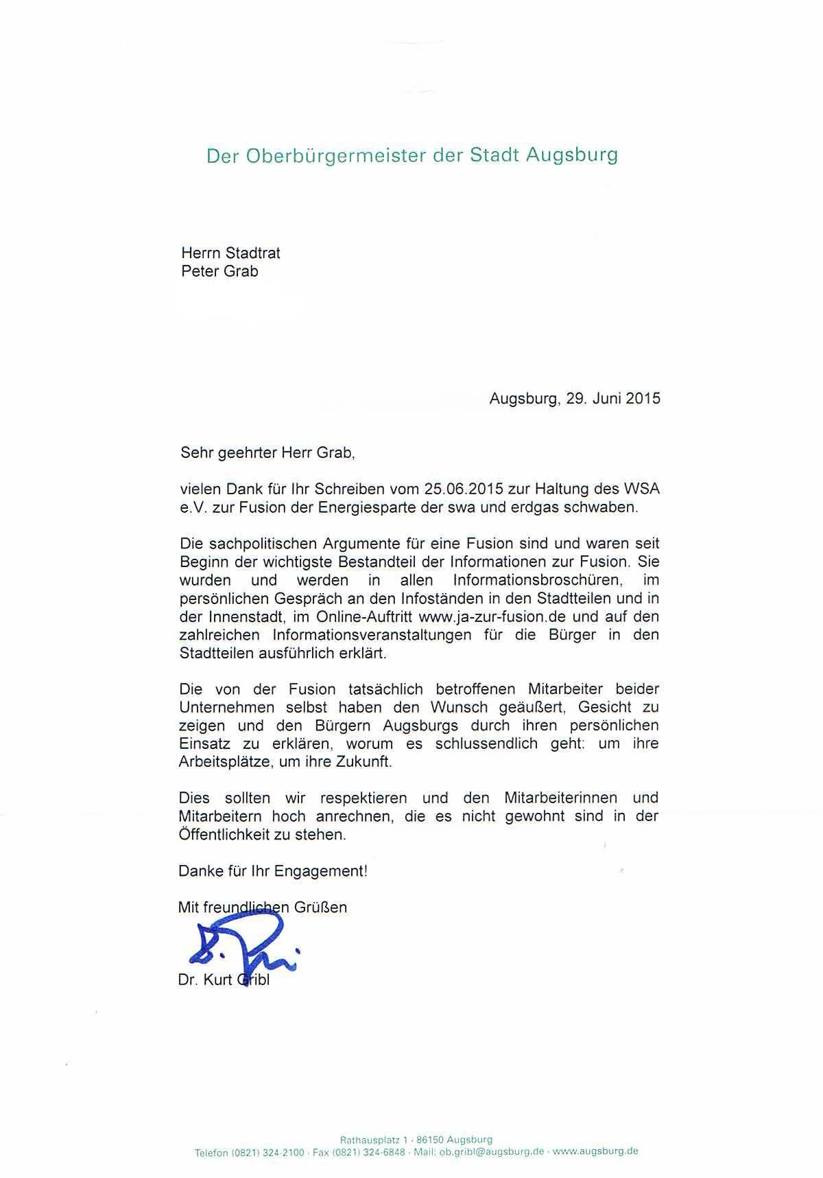 OB-Antwort vom 29.06.2015 wg. Mitarbeiter-Kampagne-001 mit verwischter Adresse