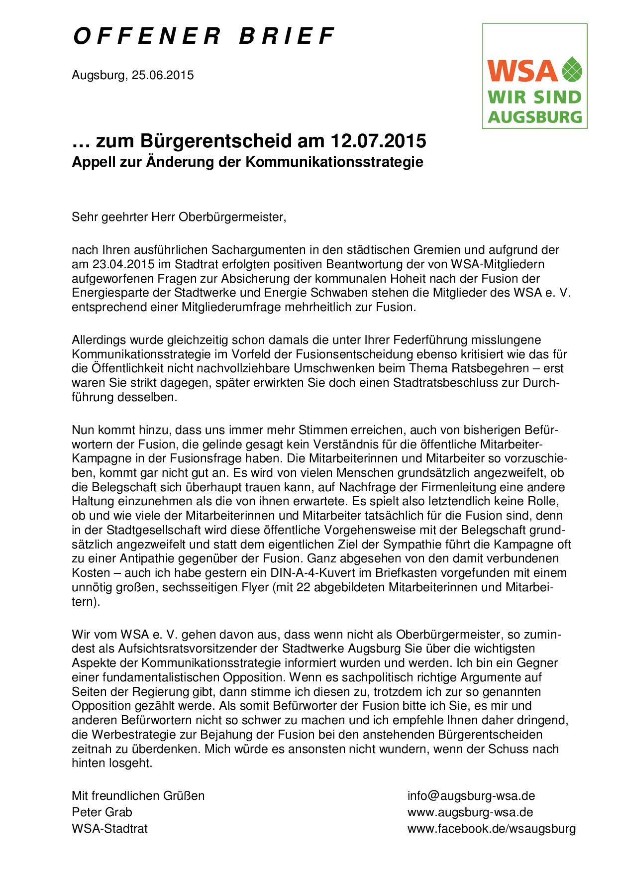 WSA zum Fusions-Bürgerentscheid - Offener Brief vom 25.06.2015 an Oberbürgermeister Dr. Kurt Gribl-001