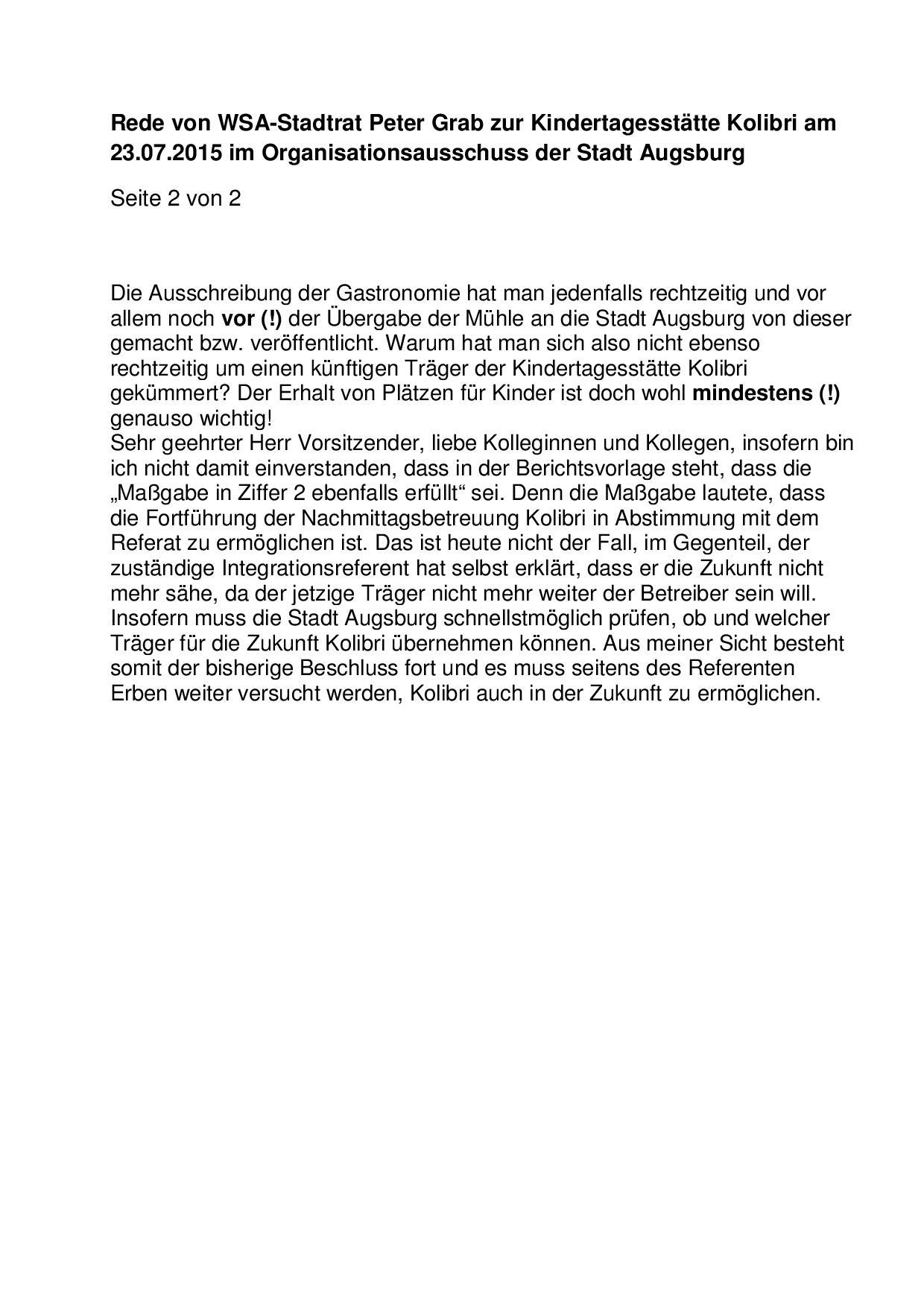 Rede zur Kindertagesstätte Kolibri am 23.07.2015 im Organisationsausschuss-002