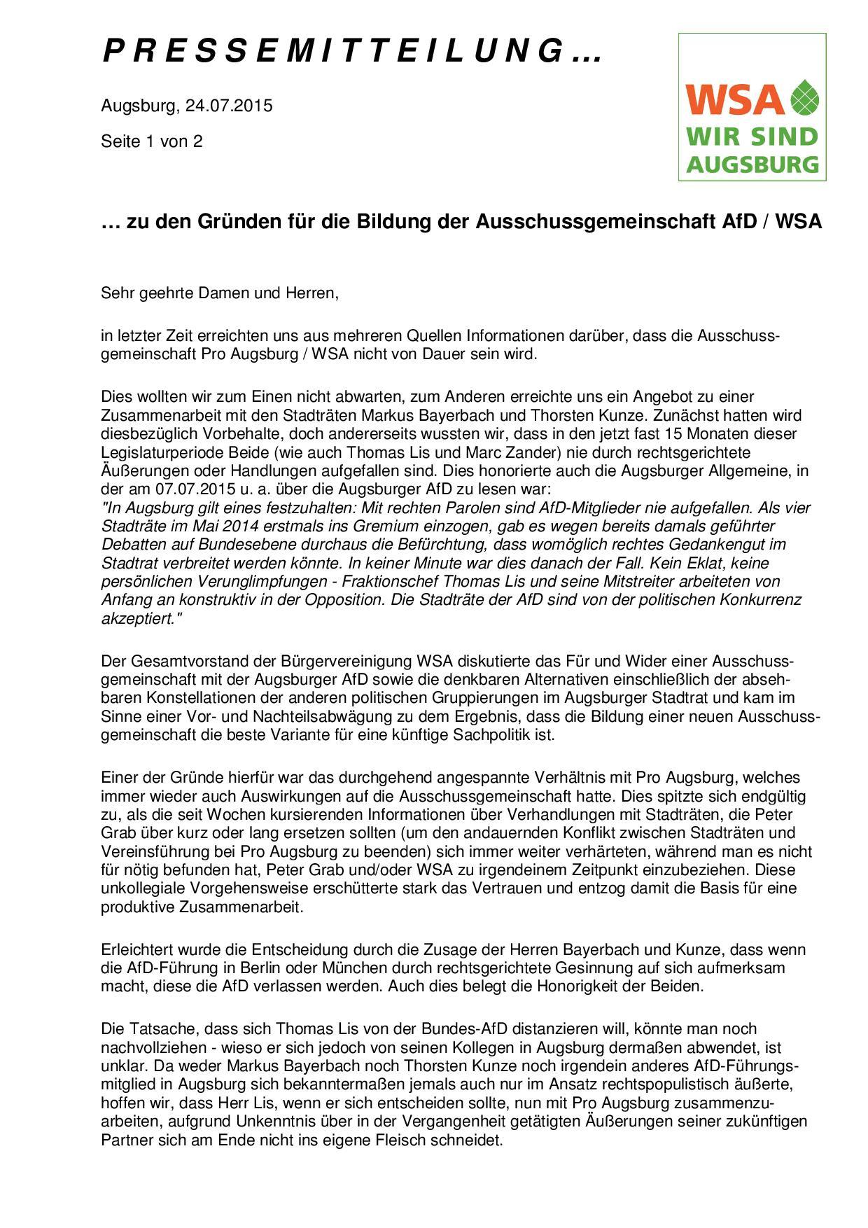 WSA-Pressemitteilung vom 24.07.2015 zur Bildung einer Ausschussgemeinschaft AfD-WSA-001