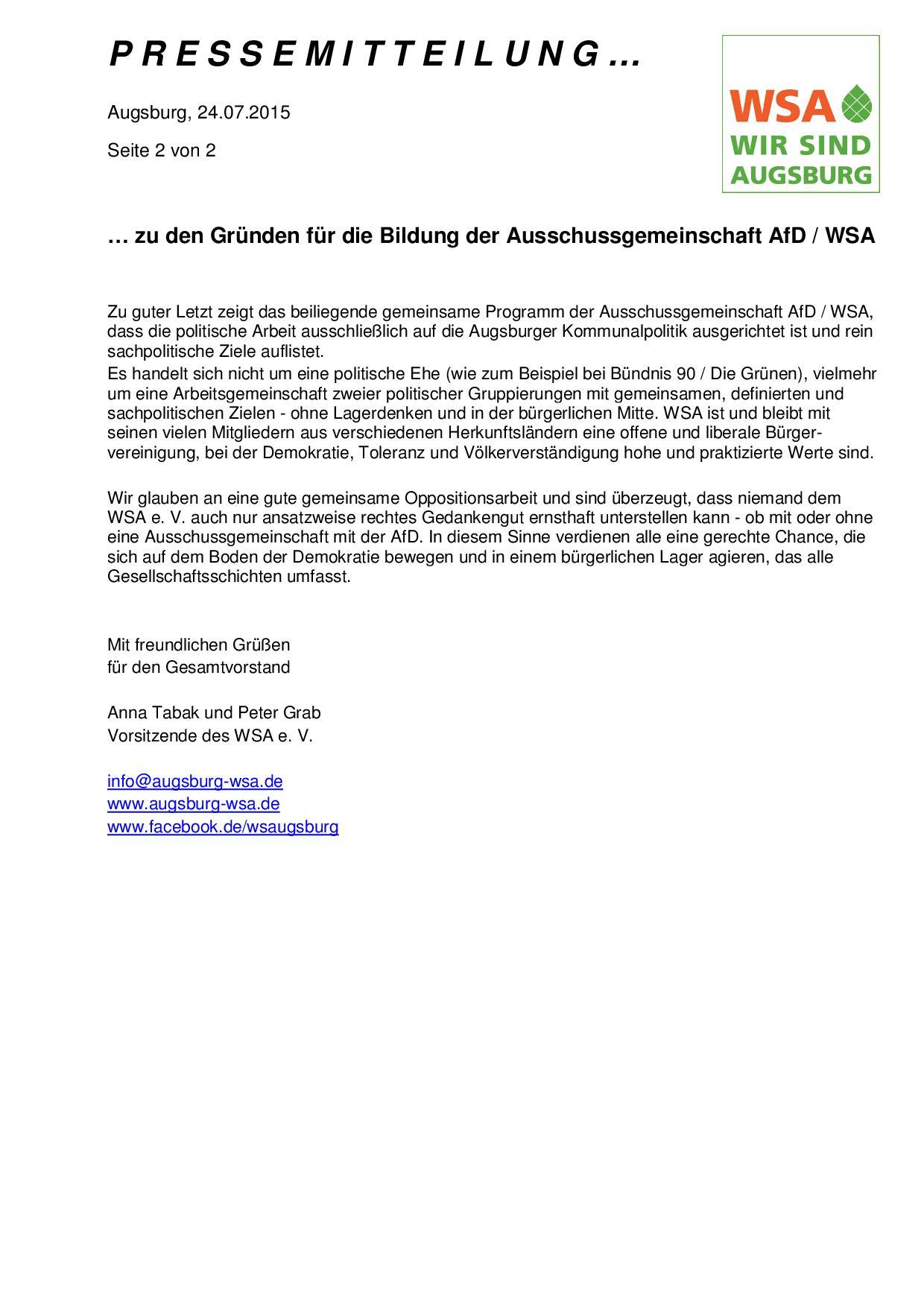 WSA-Pressemitteilung vom 24.07.2015 zur Bildung einer Ausschussgemeinschaft AfD-WSA-002