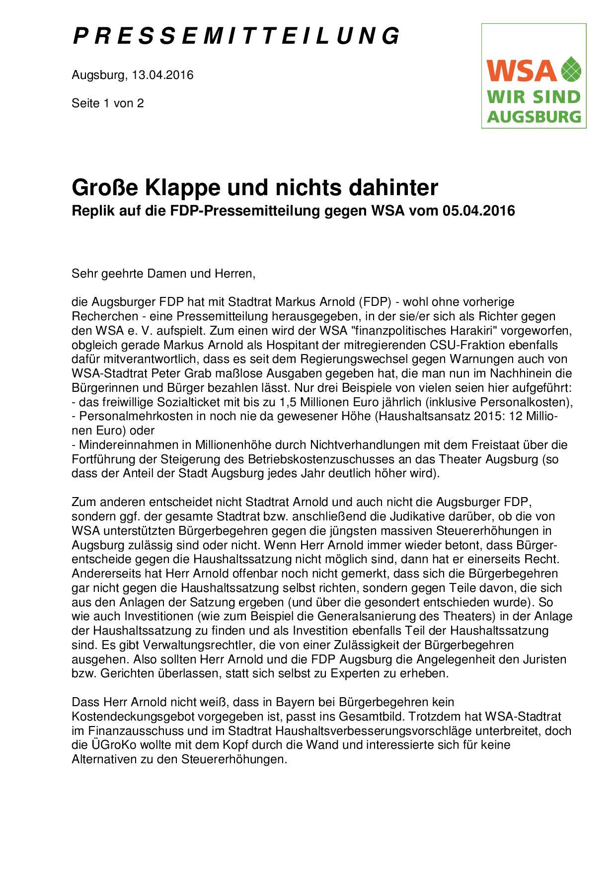 WSA-Pressemitteilung vom 13.04.2016 zur FDP-Pressemitteilung vom 05.04.2016-001