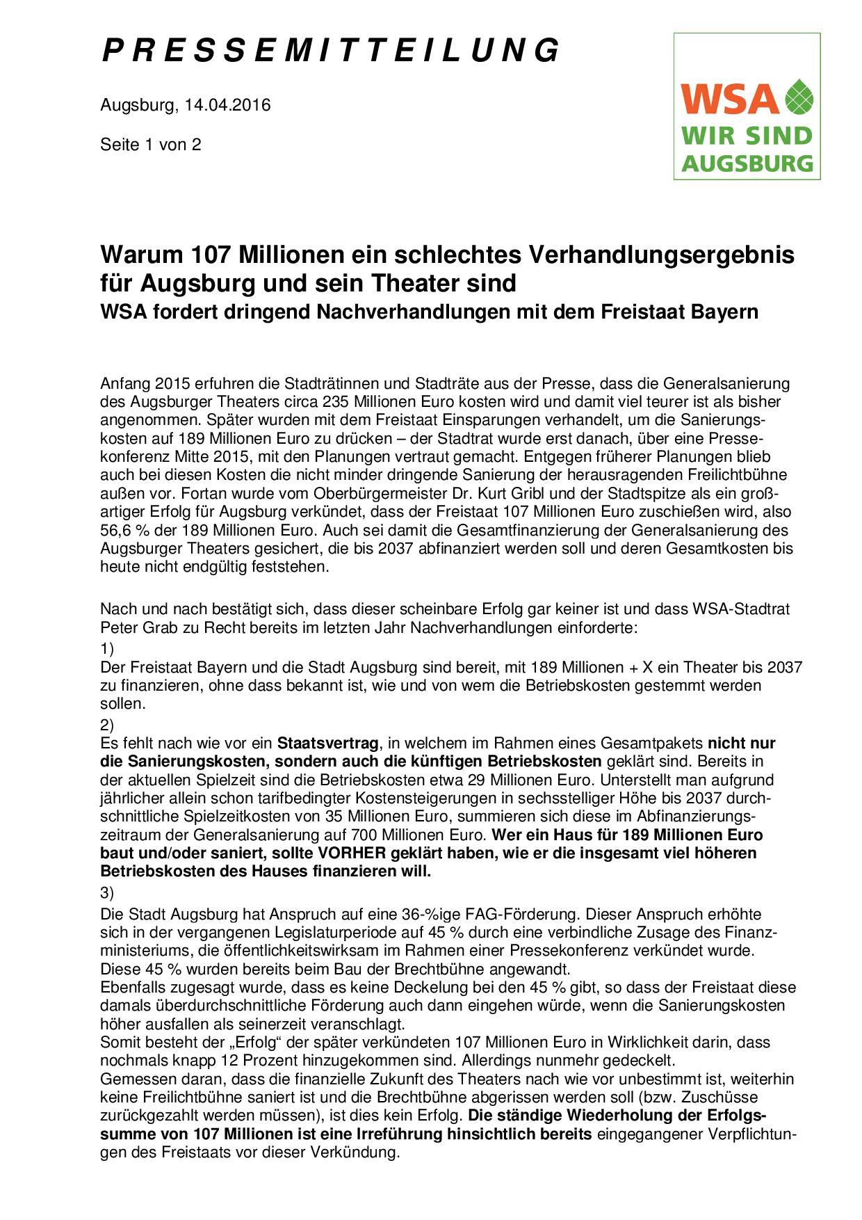 WSA-Pressemitteilung vom 14.04.2016 zu den Verhandlungen zur Zukunftssicherung des Augsburger Theaters-001
