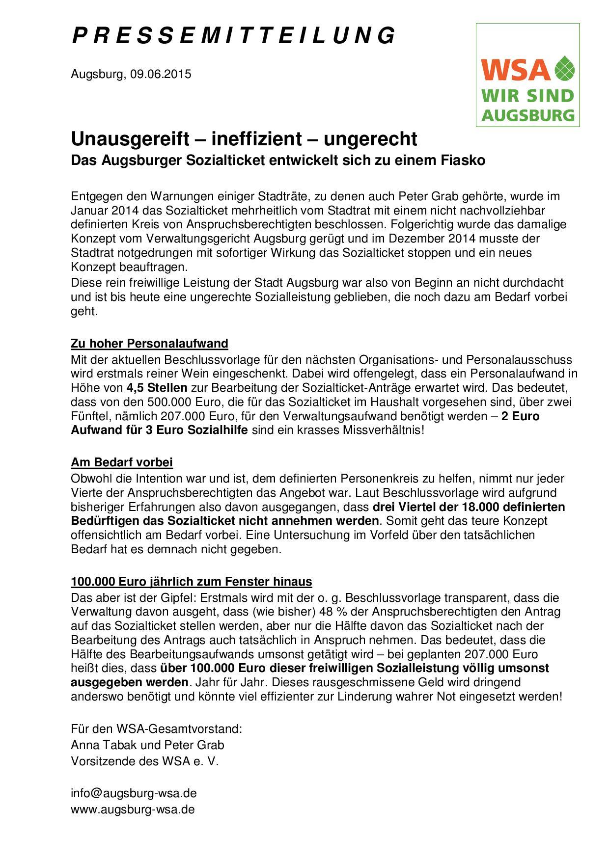 WSA-Pressemitteilung vom 09.06.2015 zum Sozialticket-001