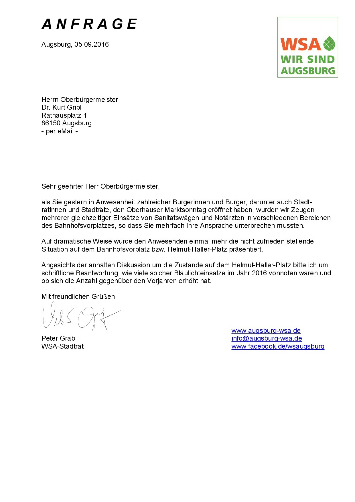 WSA-Anfrage vom 05.09.2016 zu Blaulichteinsätzen auf dem Helmut-Haller-Platz
