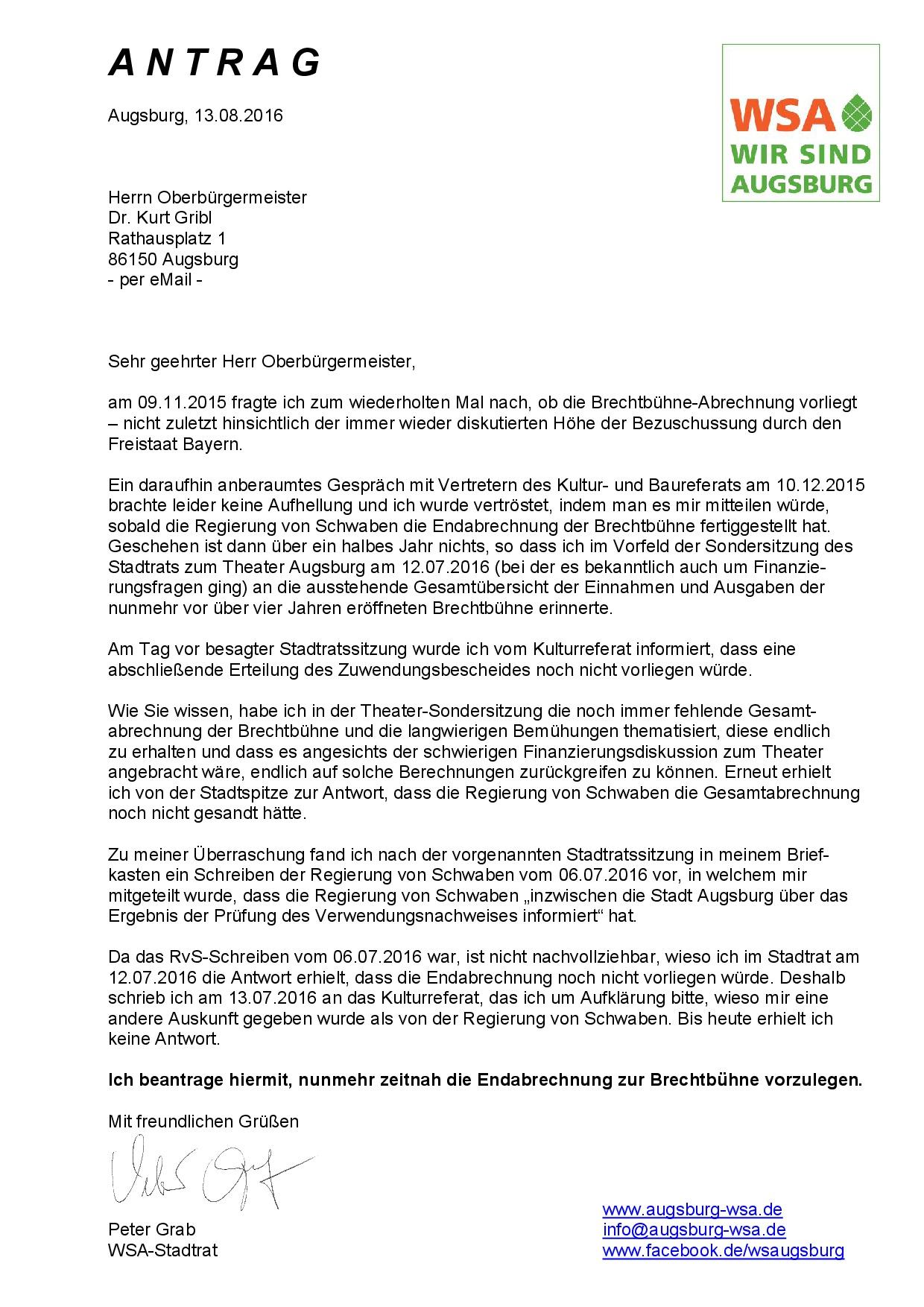 WSA-Antrag vom 13.08.2016 zur Brechtbühne