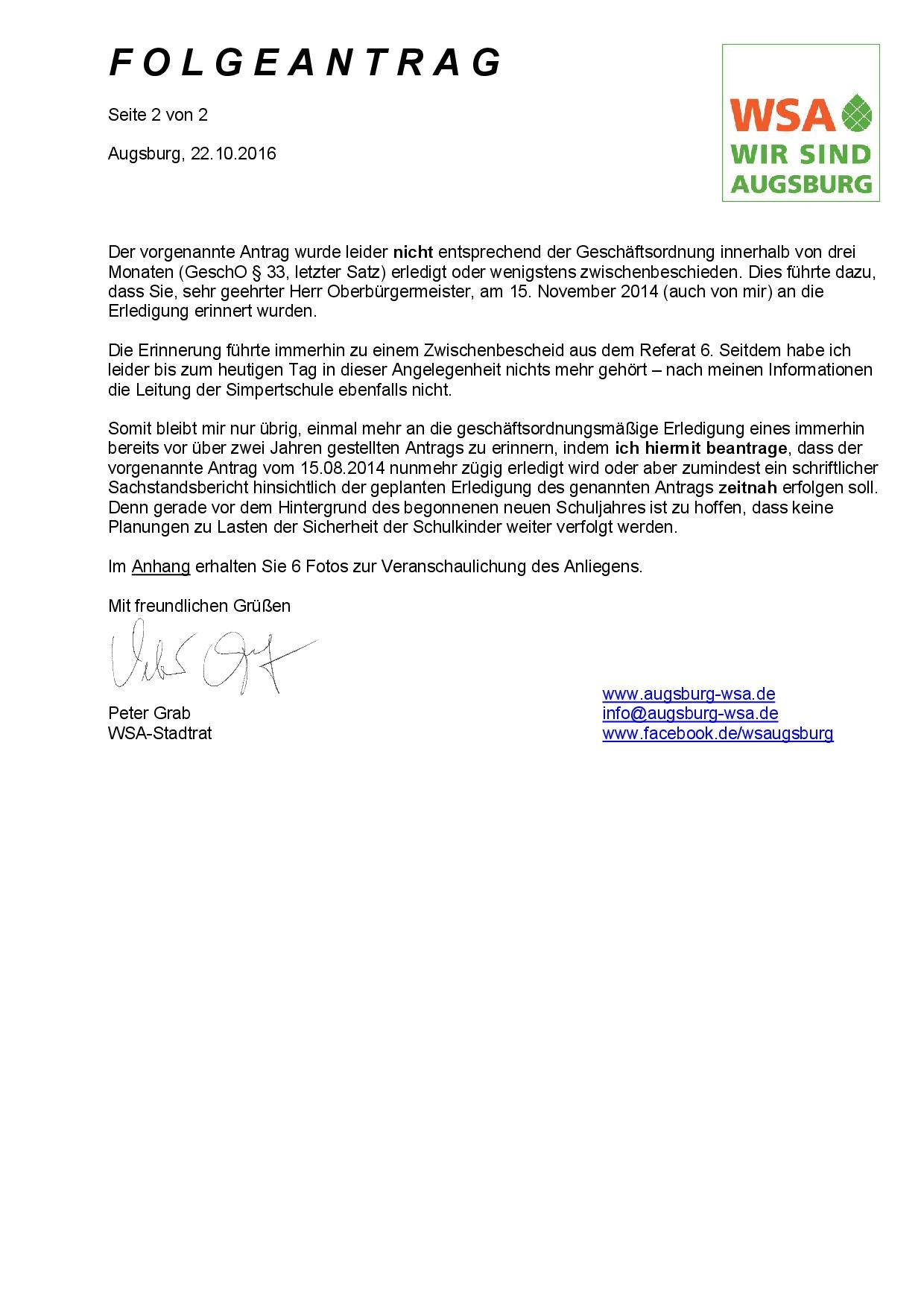 WSA-Folgeantrag vom 22.10.2016 zur Simpertschule Augsburg, Seite 2
