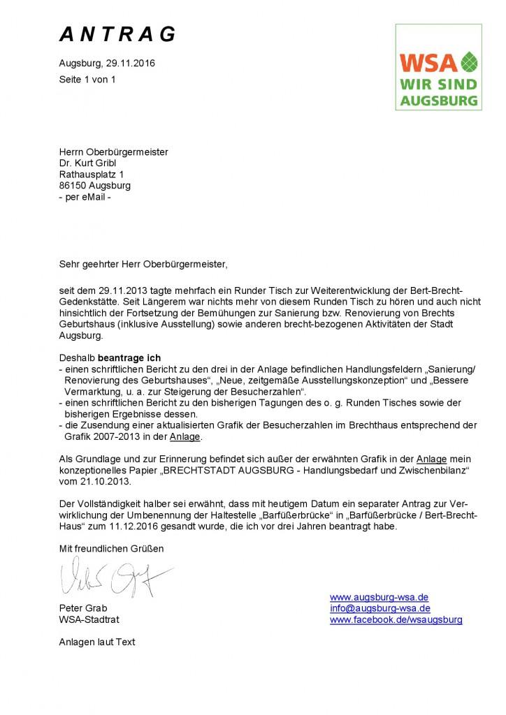 WSA-Antrag vom 29.11.2016 zur Brechtstadt Augsburg