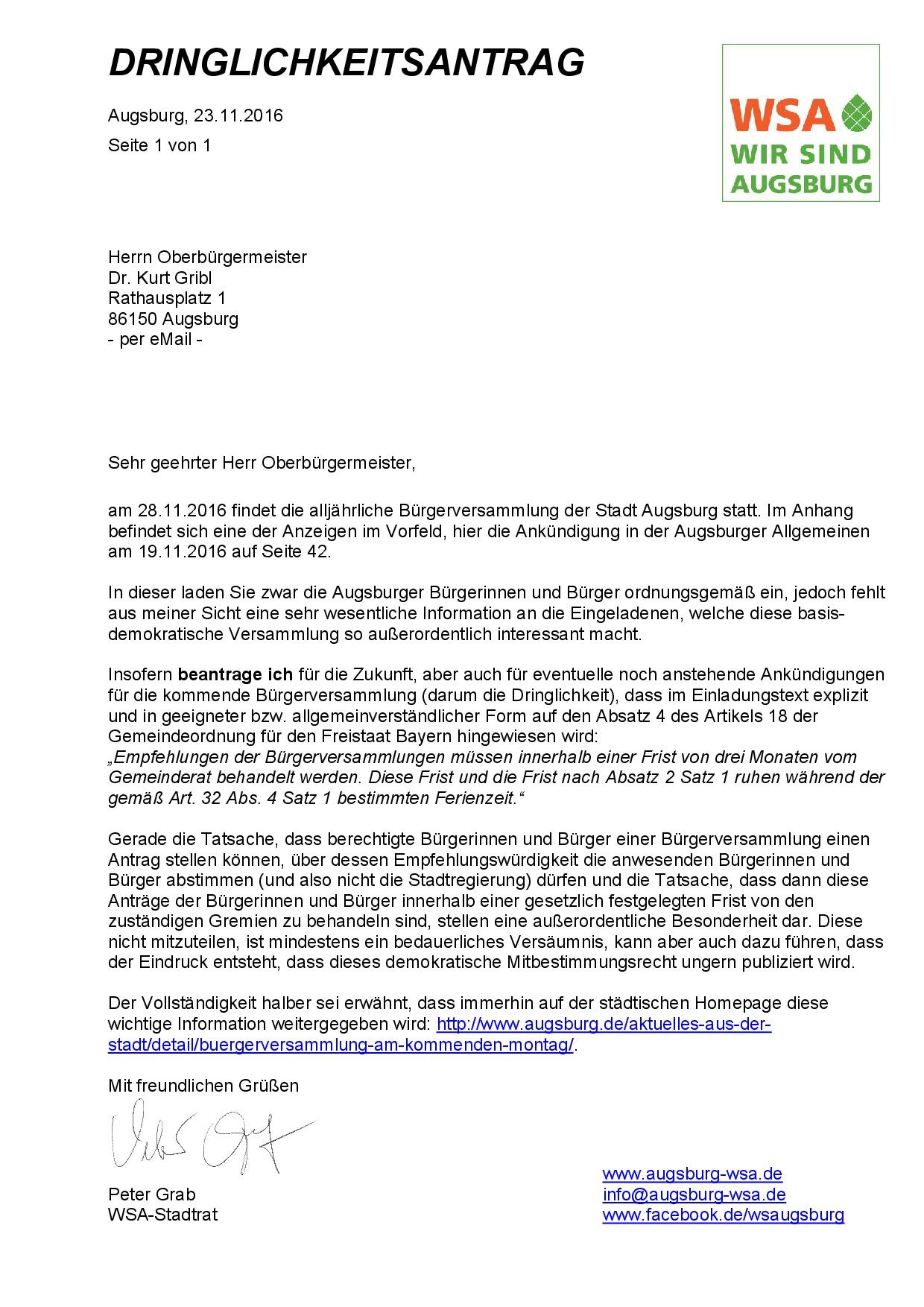 WSA-Dringlichkeitsantrag vom 23.11.2016 zur kommenden Bürgerversammlung und zu künftigen Bürgerversammlungen-001