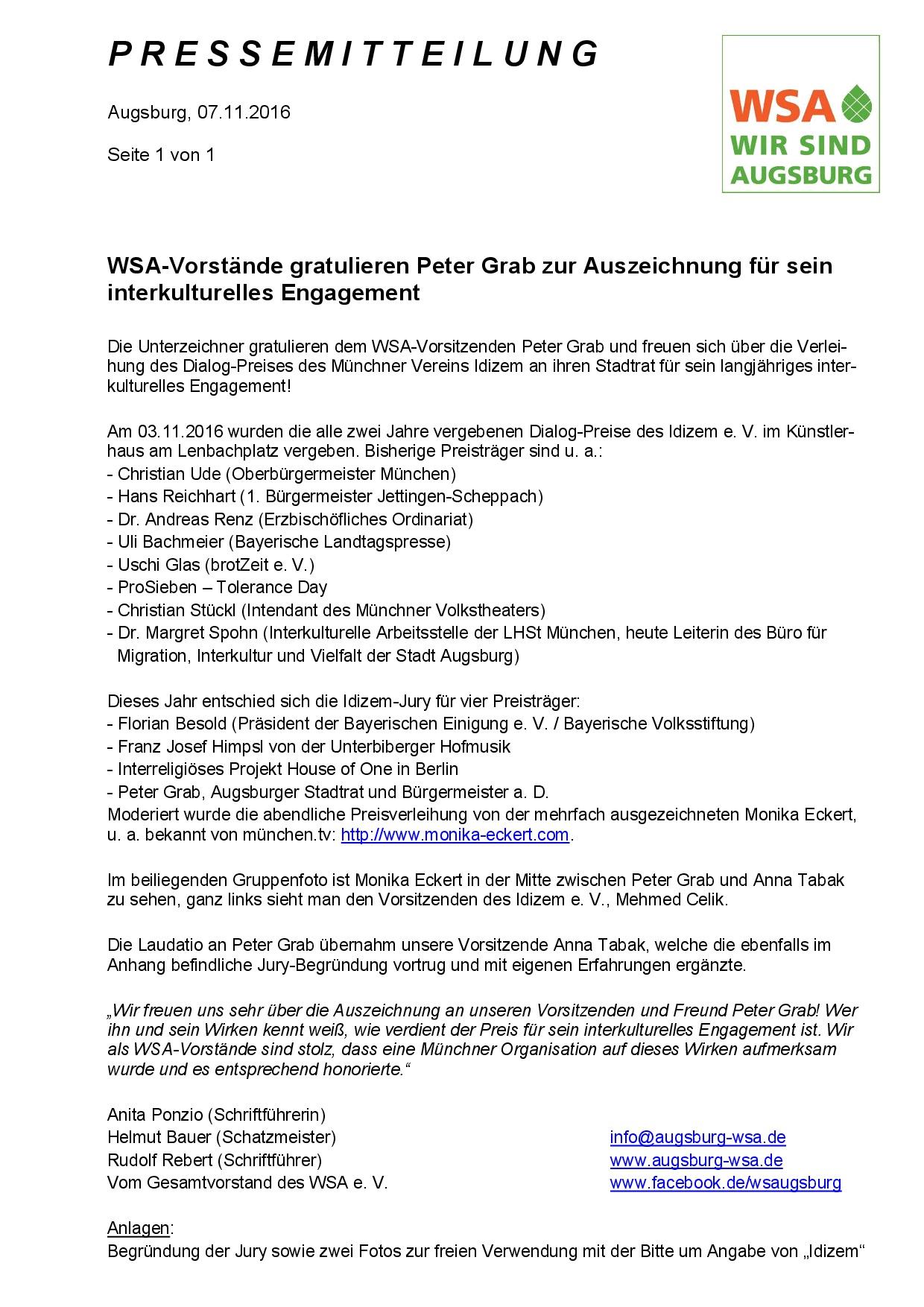 WSA-Pressemitteilung vom 07.11.2016 zur Preisverleihung an Peter Grab