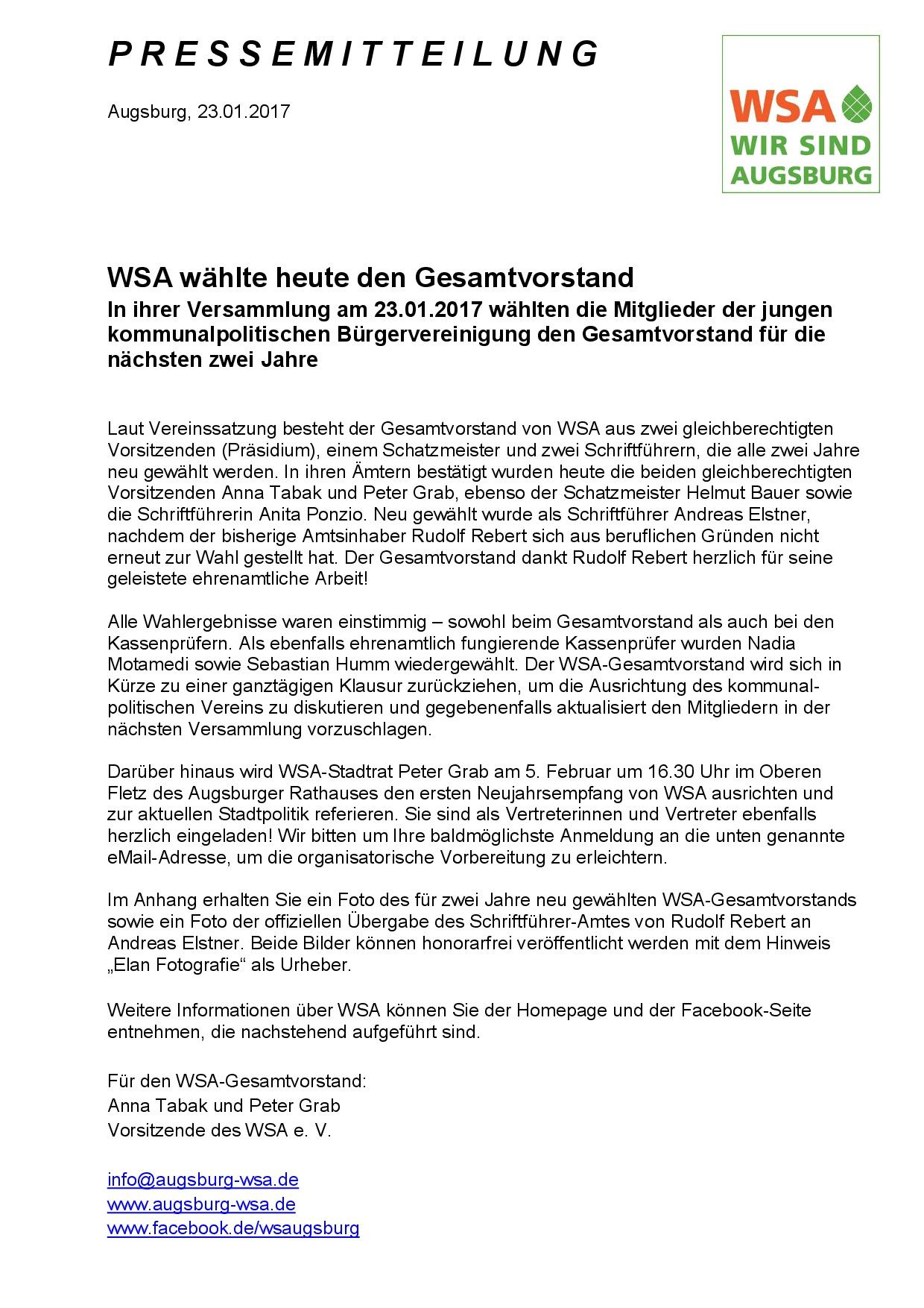 WSA-Pressemitteilung vom 23.01.2017 wegen Wahl des Gesamtvorstands